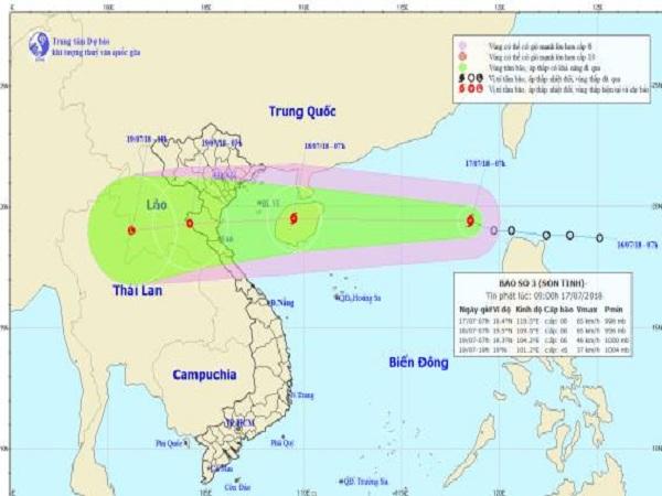 Bão số 3 gây mưa ở miền Trung