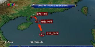 Áp thấp trên biển Đông chuyển thành áp thấp nhiệt đới