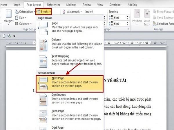 Cách đánh số trang trong word 2010 đơn giản nhất