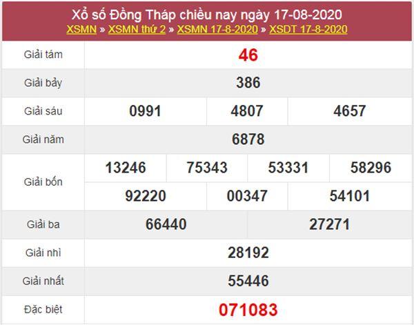 Dự đoán XSDT 24/8/2020 chốt KQXS Đồng Tháp thứ 2